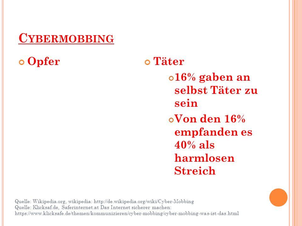C YBERMOBBING Opfer Täter 16% gaben an selbst Täter zu sein Von den 16% empfanden es 40% als harmlosen Streich Quelle: Wikipedia.org, wikipedia: http://de.wikipedia.org/wiki/Cyber-Mobbing Quelle: Klicksaf.de, Saferinternet.at Das Internet sicherer machen: https://www.klicksafe.de/themen/kommunizieren/cyber-mobbing/cyber-mobbing-was-ist-das.html