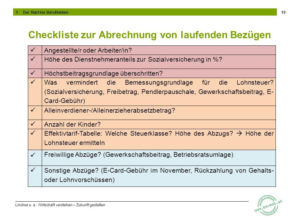 Lindner u. a.: Wirtschaft verstehen – Zukunft gestalten Checkliste zur Abrechnung von laufenden Bezügen 19 Angestellte/r oder Arbeiter/in? Höhe des Di