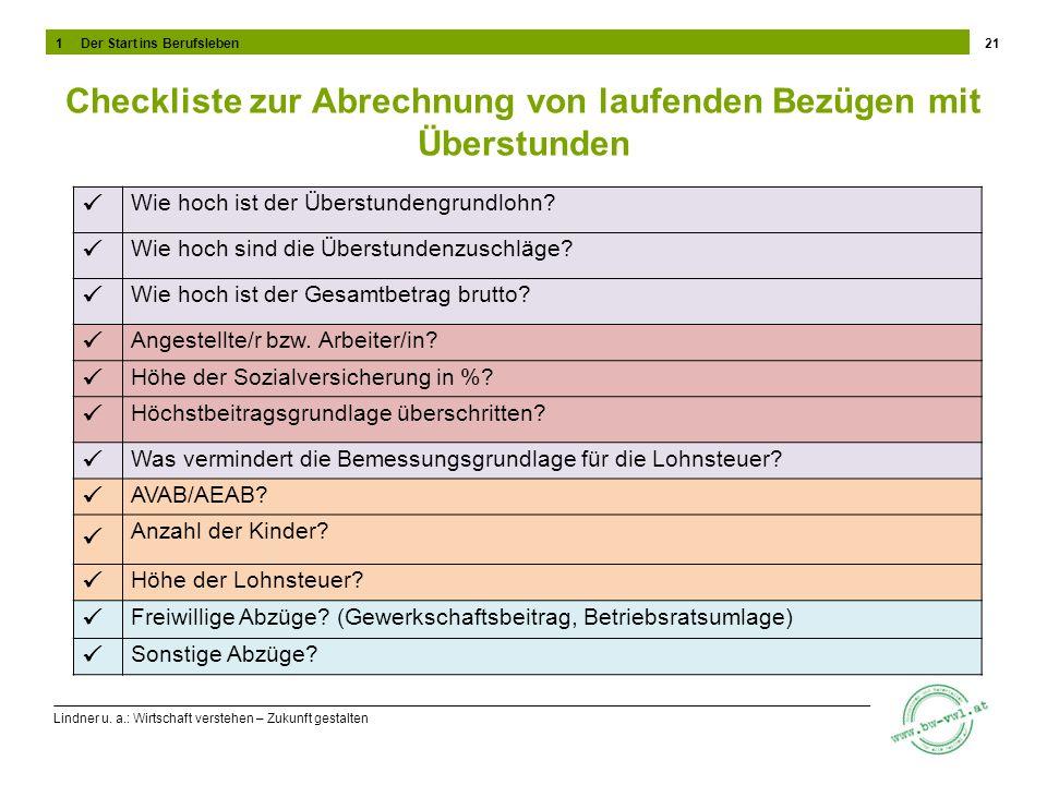 Lindner u. a.: Wirtschaft verstehen – Zukunft gestalten Checkliste zur Abrechnung von laufenden Bezügen mit Überstunden 21 Wie hoch ist der Überstunde