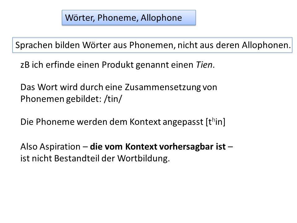 Wörter, Phoneme, Allophone Sprachen bilden Wörter aus Phonemen, nicht aus deren Allophonen. zB ich erfinde einen Produkt genannt einen Tien. Das Wort