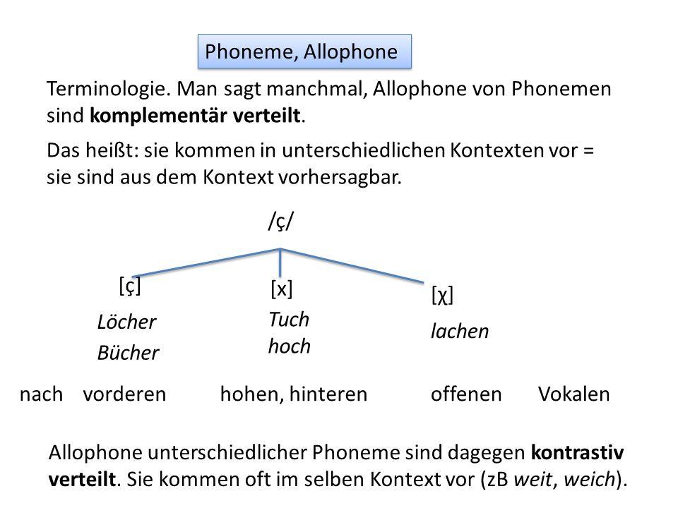 Phoneme, Allophone Terminologie. Man sagt manchmal, Allophone von Phonemen sind komplementär verteilt. Das heißt: sie kommen in unterschiedlichen Kont