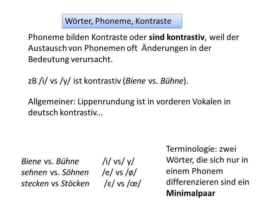 Phoneme bilden Kontraste oder sind kontrastiv, weil der Austausch von Phonemen oft Änderungen in der Bedeutung verursacht. Wörter, Phoneme, Kontraste