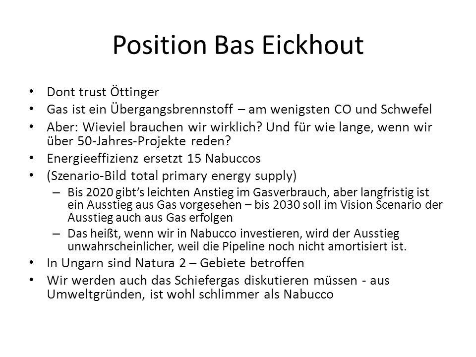 Position Bas Eickhout Dont trust Öttinger Gas ist ein Übergangsbrennstoff – am wenigsten CO und Schwefel Aber: Wieviel brauchen wir wirklich.