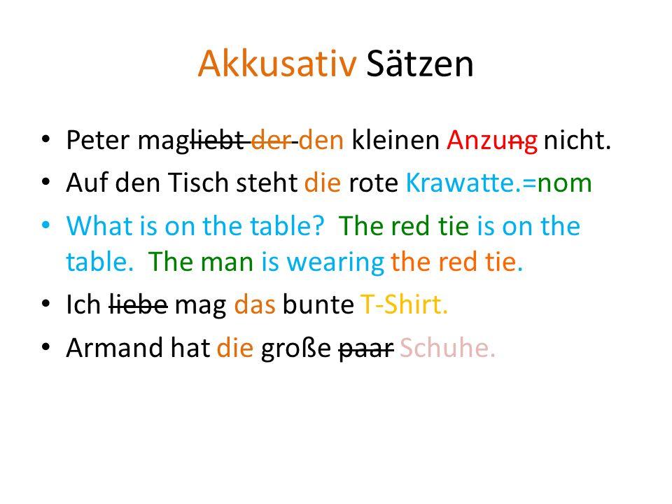 Dativ dem kleineN Anzung der roteN Krawatte dem bunteN T-Shirt den (pl) großeN paar SchuheN