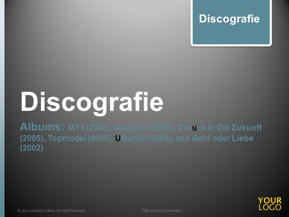 Discografie Albums: MT3 (2005), Mein Job (2006), Zuruck in Die Zukunft (2005), Topmodel (2005), UBerfall (2004), and Geld oder Liebe (2002) © your com