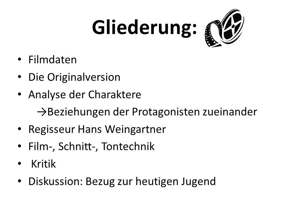 Gliederung: Filmdaten Die Originalversion Analyse der Charaktere Beziehungen der Protagonisten zueinander Regisseur Hans Weingartner Film-, Schnitt-,