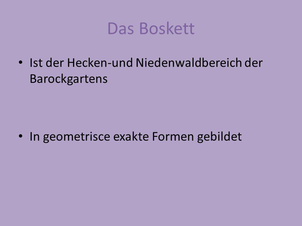 Das Boskett Ist der Hecken-und Niedenwaldbereich der Barockgartens In geometrisce exakte Formen gebildet