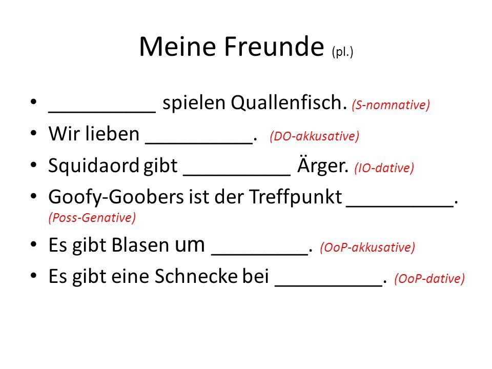 Meine Freunde (pl.) __________ spielen Quallenfisch. (S-nomnative) Wir lieben __________. (DO-akkusative) Squidaord gibt __________ Ärger. (IO-dative)