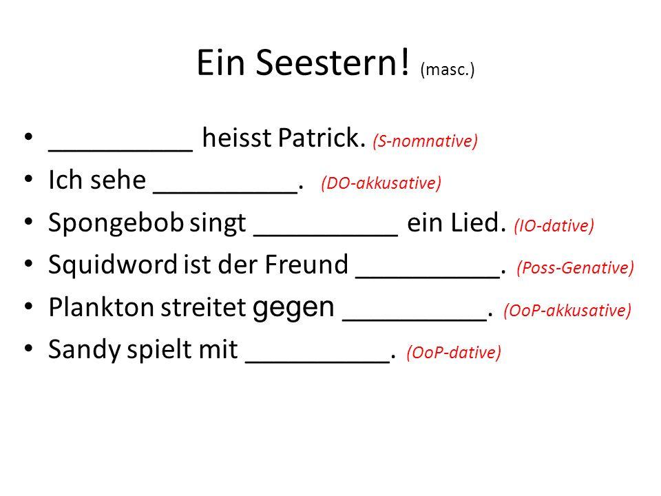 Ein Seestern! (masc.) __________ heisst Patrick. (S-nomnative) Ich sehe __________. (DO-akkusative) Spongebob singt __________ ein Lied. (IO-dative) S