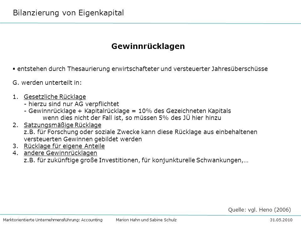 Bilanzierung von Eigenkapital Marktorientierte Unternehmensführung: Accounting Marion Hahn und Sabine Schulz 31.05.2010 Gewinnrücklagen entstehen durc