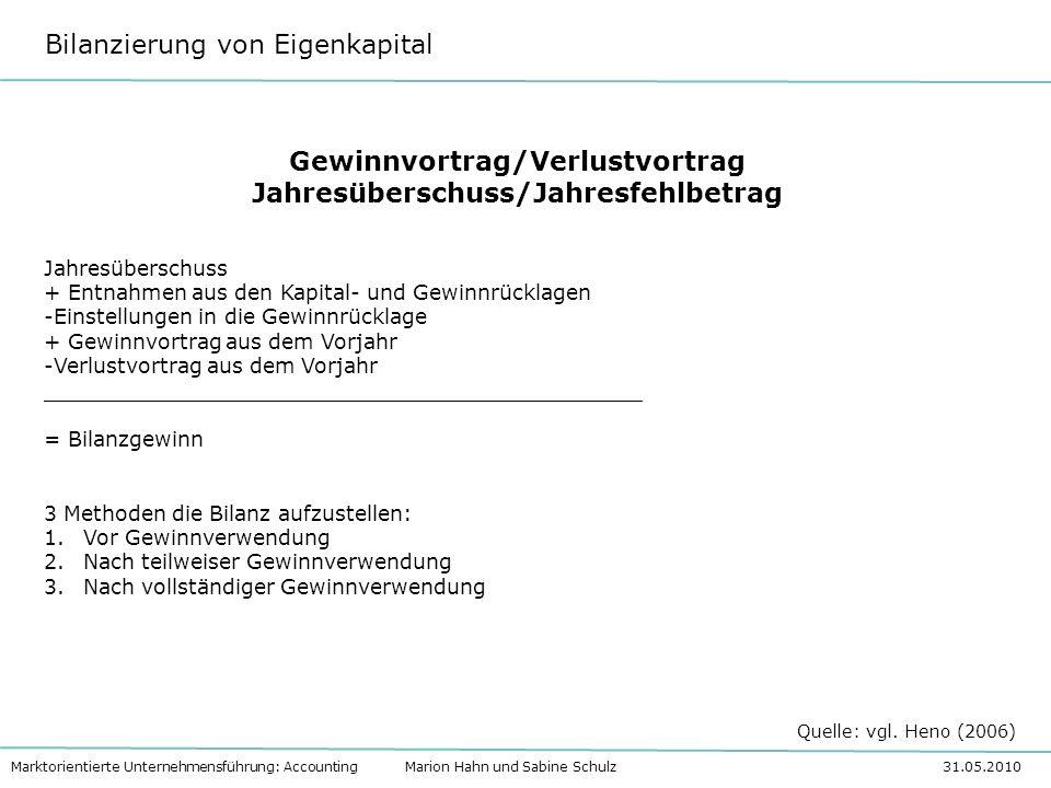 Bilanzierung von Eigenkapital Marktorientierte Unternehmensführung: Accounting Marion Hahn und Sabine Schulz 31.05.2010 Gewinnvortrag/Verlustvortrag J