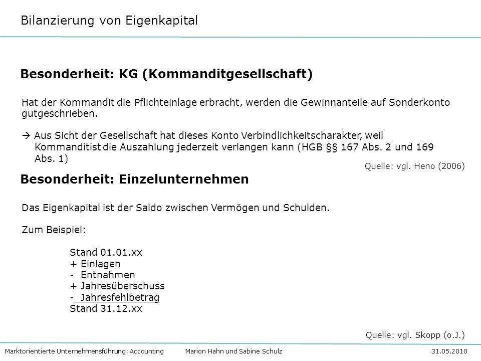 Bilanzierung von Eigenkapital Marktorientierte Unternehmensführung: Accounting Marion Hahn und Sabine Schulz 31.05.2010 Besonderheit: KG (Kommanditges
