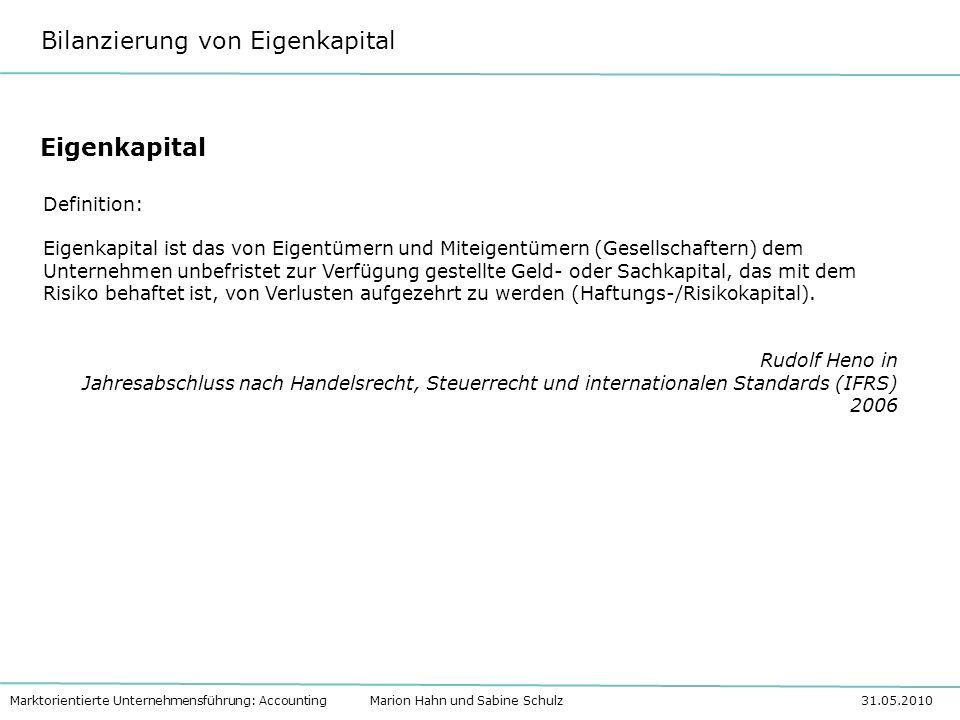 Bilanzierung von Eigenkapital Marktorientierte Unternehmensführung: Accounting Marion Hahn und Sabine Schulz 31.05.2010 Bilanzierung des Eigenkapitals in Personengesellschaften Personen- gesellschaften Einzel- unter- nehmen OHGKG Gesetzlich nicht im HGB geregelt, es gelten die GoB