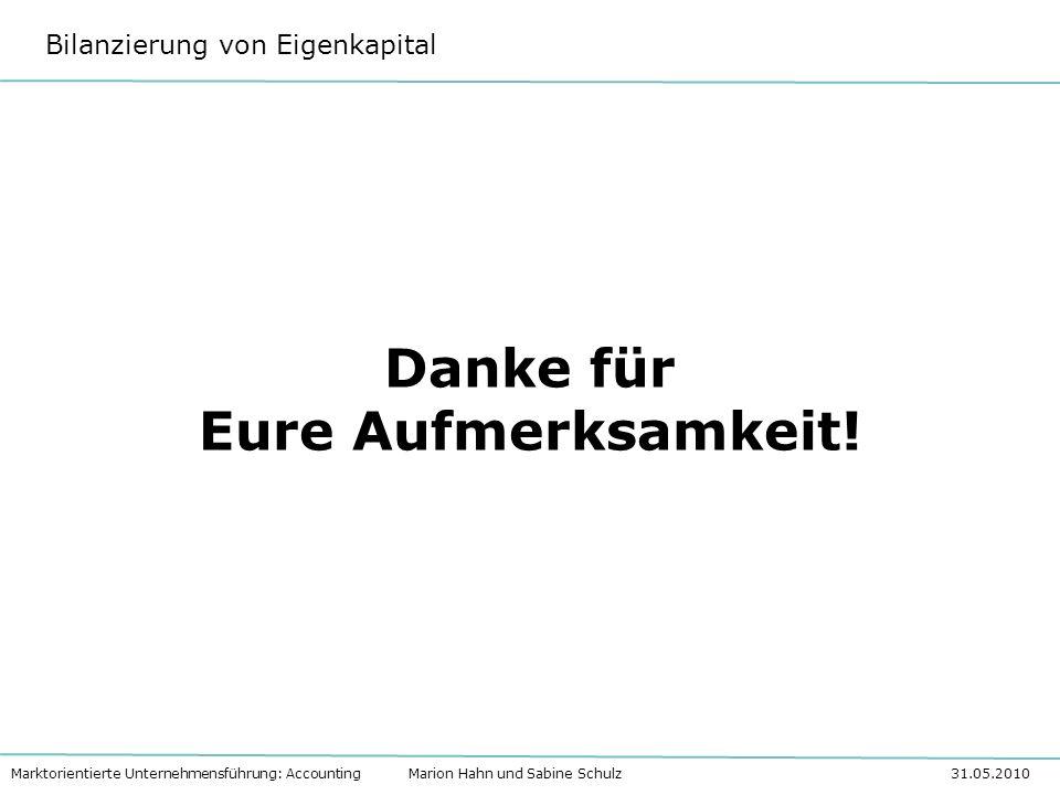 Bilanzierung von Eigenkapital Marktorientierte Unternehmensführung: Accounting Marion Hahn und Sabine Schulz 31.05.2010 Danke für Eure Aufmerksamkeit!