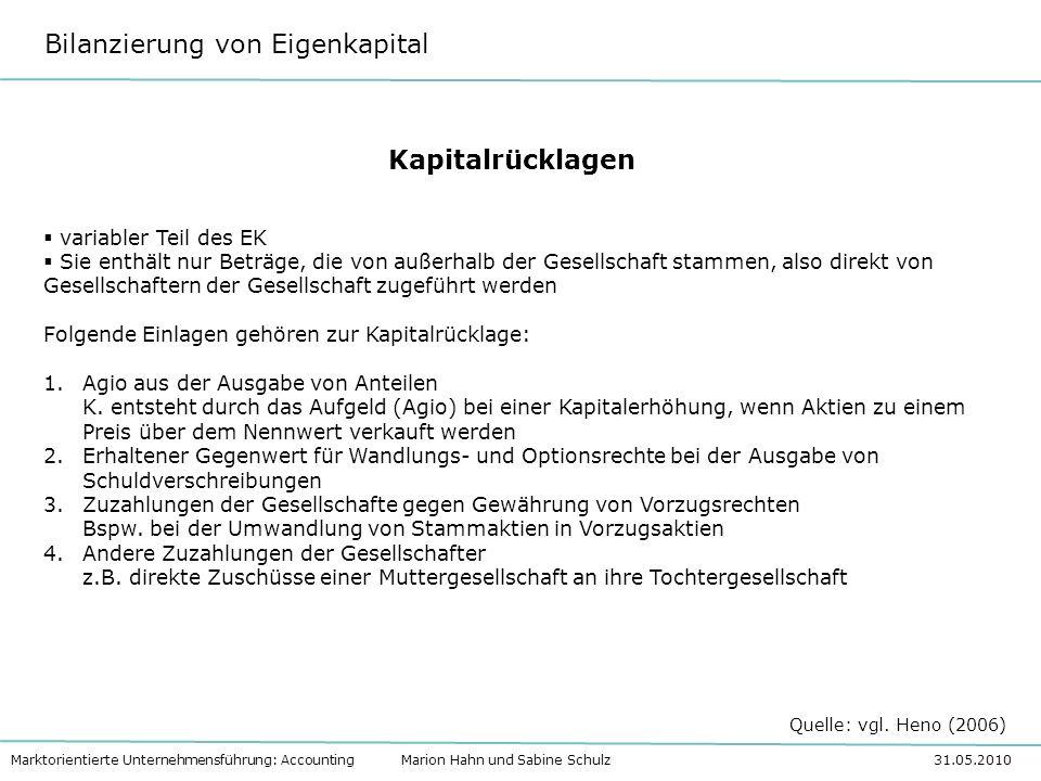 Bilanzierung von Eigenkapital Marktorientierte Unternehmensführung: Accounting Marion Hahn und Sabine Schulz 31.05.2010 Kapitalrücklagen variabler Tei