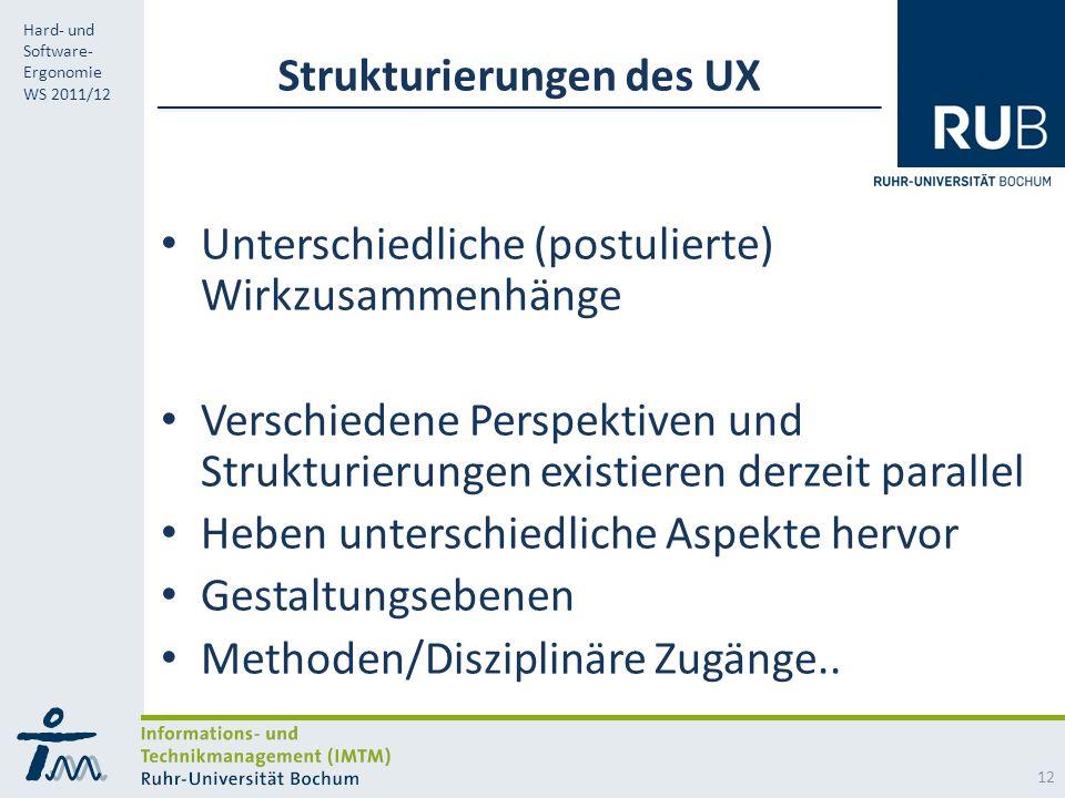 RUB Hard- und Software- Ergonomie WS 2011/12 Strukturierungen des UX Unterschiedliche (postulierte) Wirkzusammenhänge Verschiedene Perspektiven und Strukturierungen existieren derzeit parallel Heben unterschiedliche Aspekte hervor Gestaltungsebenen Methoden/Disziplinäre Zugänge..