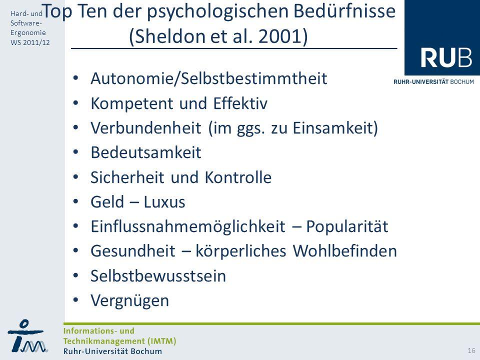 RUB Hard- und Software- Ergonomie WS 2011/12 Top Ten der psychologischen Bedürfnisse (Sheldon et al.