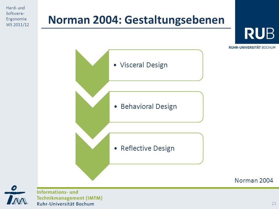 RUB Hard- und Software- Ergonomie WS 2011/12 Norman 2004: Gestaltungsebenen Visceral Design Behavioral Design Reflective Design 21 Norman 2004