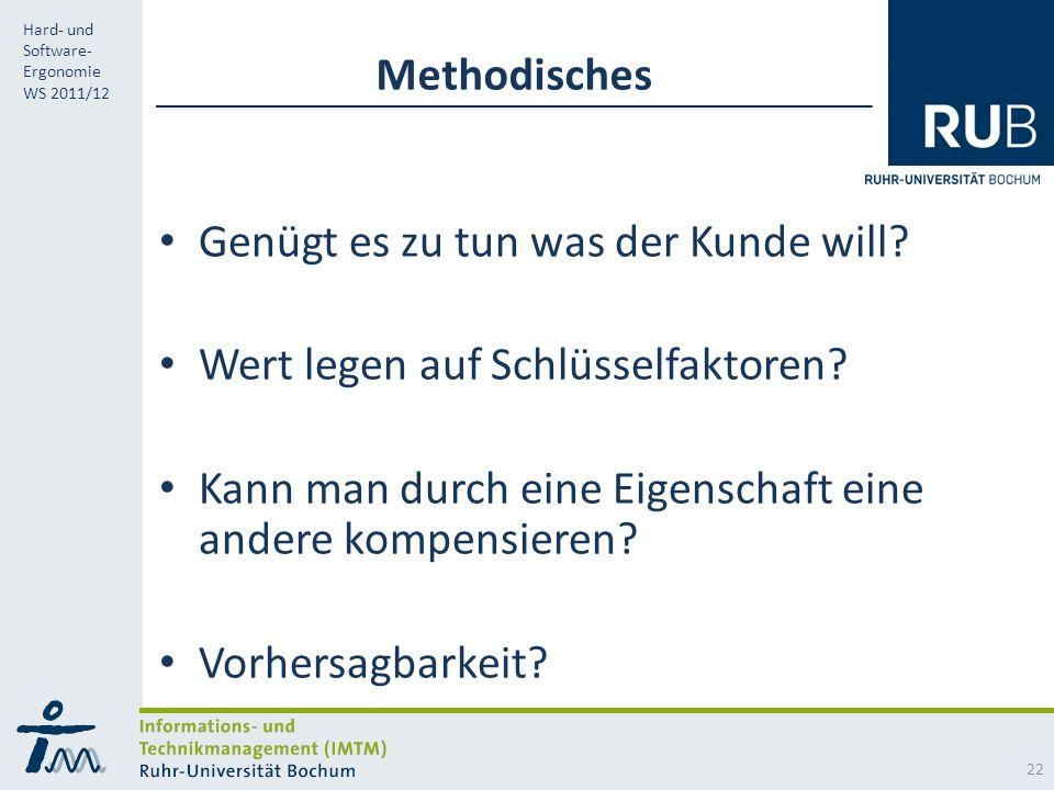 RUB Hard- und Software- Ergonomie WS 2011/12 Methodisches Genügt es zu tun was der Kunde will.
