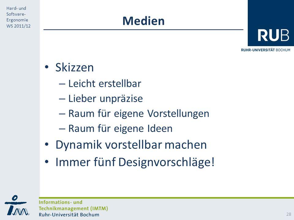 RUB Hard- und Software- Ergonomie WS 2011/12 Medien Skizzen – Leicht erstellbar – Lieber unpräzise – Raum für eigene Vorstellungen – Raum für eigene Ideen Dynamik vorstellbar machen Immer fünf Designvorschläge.