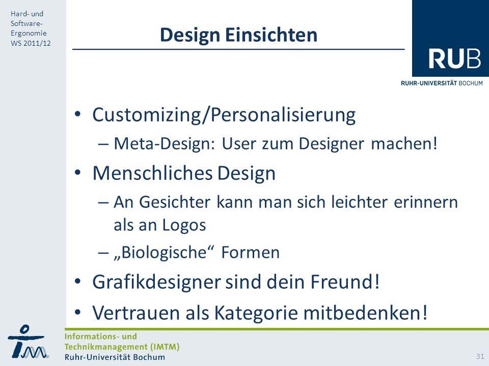 RUB Hard- und Software- Ergonomie WS 2011/12 Design Einsichten Customizing/Personalisierung – Meta-Design: User zum Designer machen.