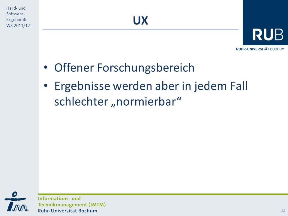 RUB Hard- und Software- Ergonomie WS 2011/12 UX Offener Forschungsbereich Ergebnisse werden aber in jedem Fall schlechter normierbar 32