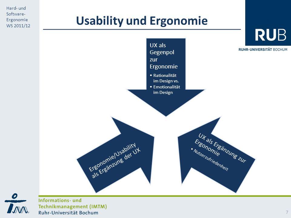 RUB Hard- und Software- Ergonomie WS 2011/12 Usability und Ergonomie UX als Gegenpol zur Ergonomie Rationalität im Design vs.