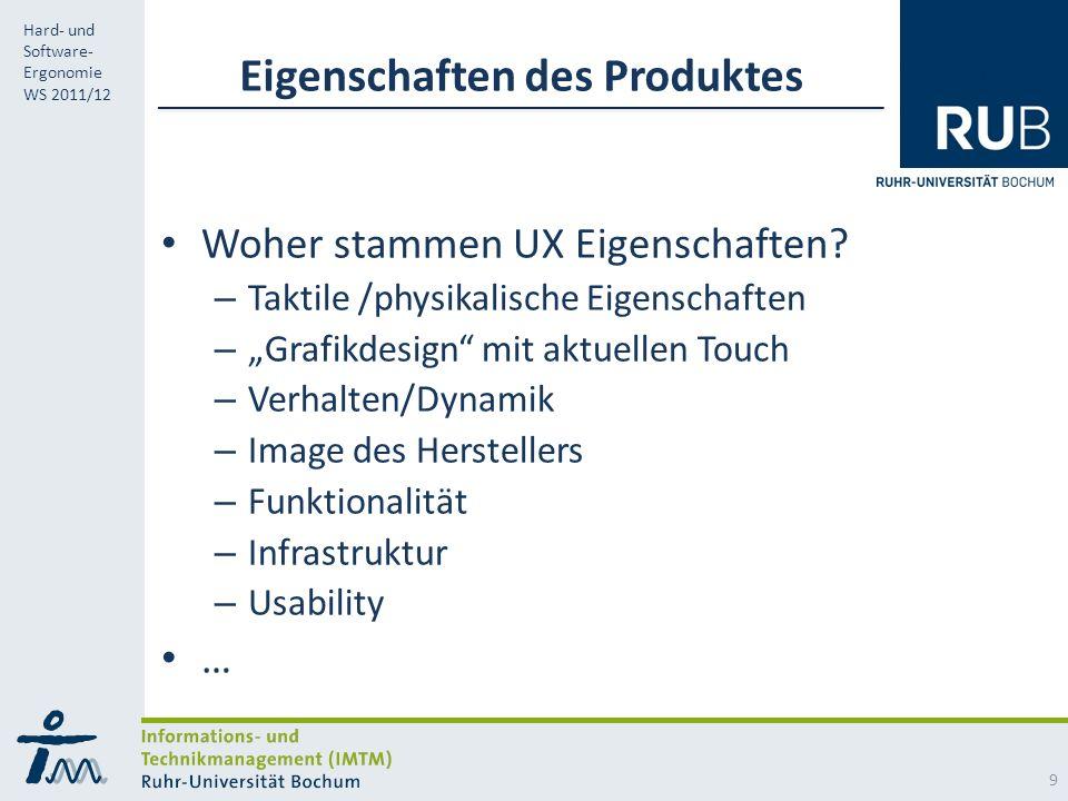 RUB Hard- und Software- Ergonomie WS 2011/12 Eigenschaften des Produktes Woher stammen UX Eigenschaften.
