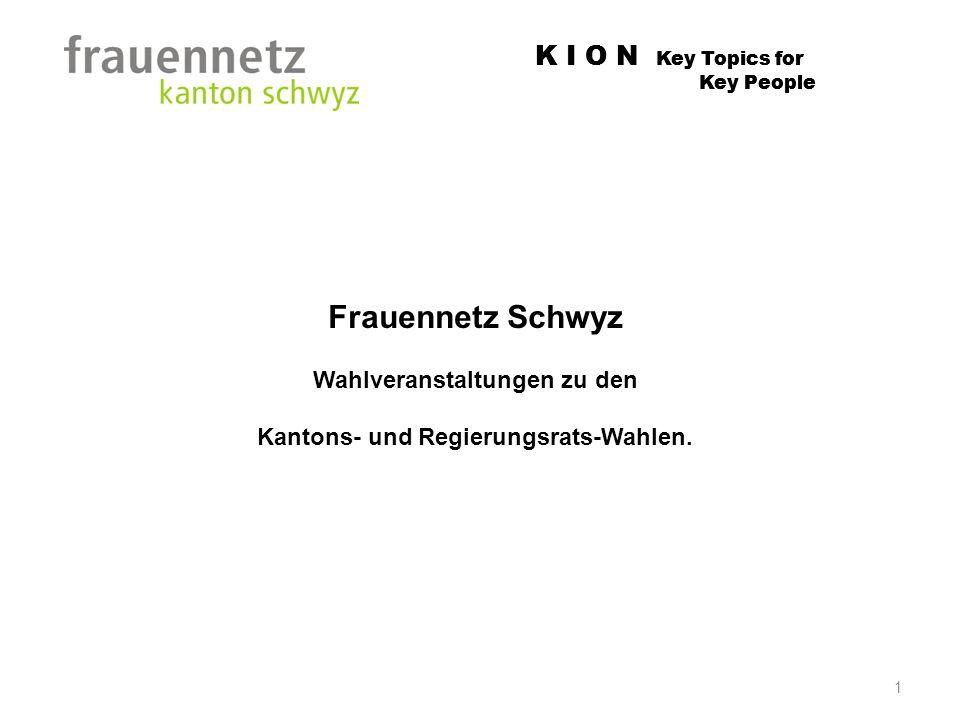 K I O N Key Topics for Key People 1 Frauennetz Schwyz Wahlveranstaltungen zu den Kantons- und Regierungsrats-Wahlen.
