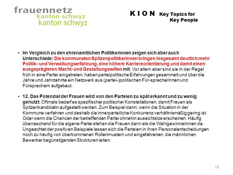 K I O N Key Topics for Key People Im Vergleich zu den ehrenamtlichen Politikerinnen zeigen sich aber auch Unterschiede: Die kommunalen Spitzenpolitike
