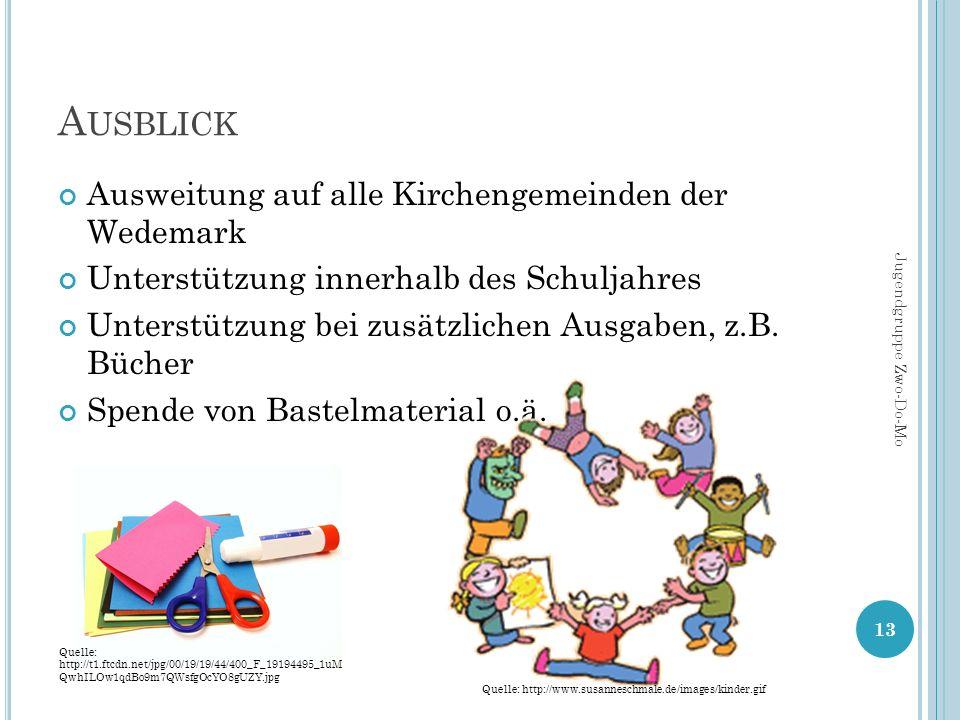 A USBLICK Ausweitung auf alle Kirchengemeinden der Wedemark Unterstützung innerhalb des Schuljahres Unterstützung bei zusätzlichen Ausgaben, z.B. Büch