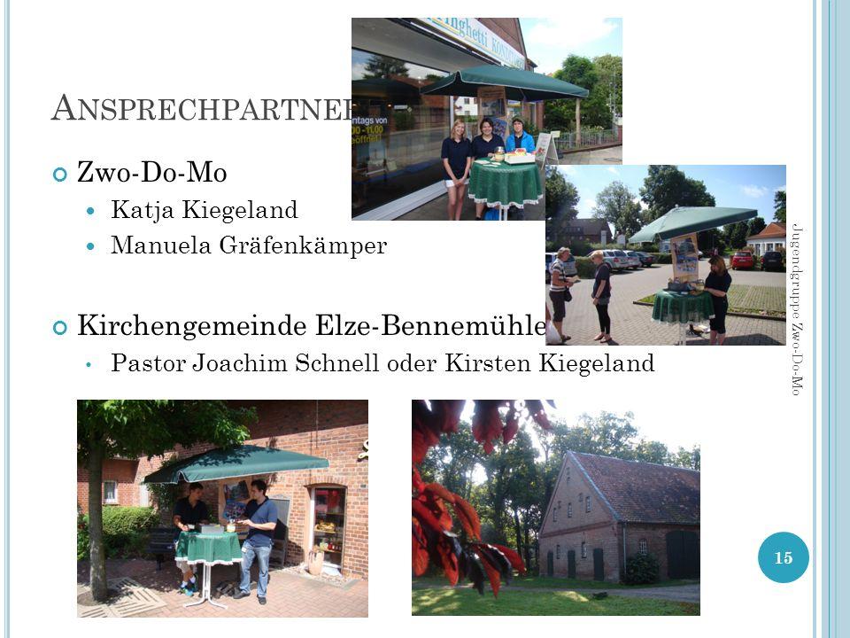 A NSPRECHPARTNER Zwo-Do-Mo Katja Kiegeland Manuela Gräfenkämper Kirchengemeinde Elze-Bennemühlen Pastor Joachim Schnell oder Kirsten Kiegeland 15 Jugendgruppe Zwo-Do-Mo