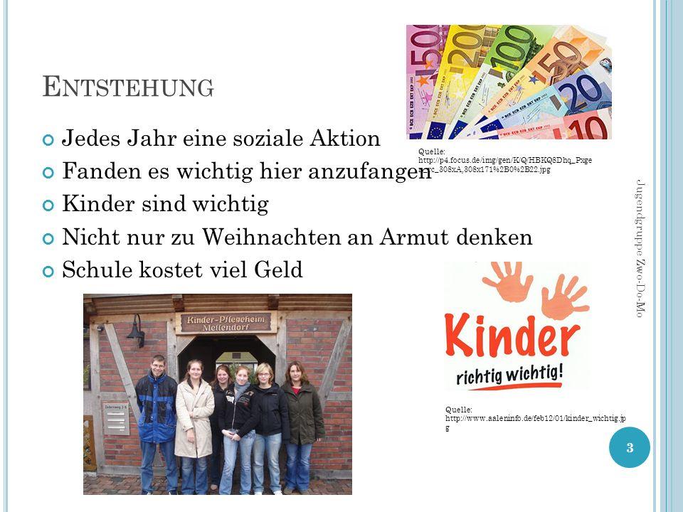 E NTSTEHUNG Jedes Jahr eine soziale Aktion Fanden es wichtig hier anzufangen Kinder sind wichtig Nicht nur zu Weihnachten an Armut denken Schule kostet viel Geld 3 Jugendgruppe Zwo-Do-Mo Quelle: http://p4.focus.de/img/gen/K/Q/HBKQ8Dhq_Pxge n_rc_308xA,308x171%2B0%2B22.jpg Quelle: http://www.aaleninfo.de/feb12/01/kinder_wichtig.jp g