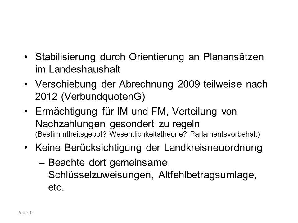 Seite 11 Stabilisierung durch Orientierung an Planansätzen im Landeshaushalt Verschiebung der Abrechnung 2009 teilweise nach 2012 (VerbundquotenG) Erm