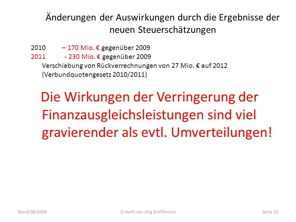 Änderungen der Auswirkungen durch die Ergebnisse der neuen Steuerschätzungen Stand 08/2006Erstellt von Jörg SchiffmannSeite 15 2010 – 170 Mio. gegenüb