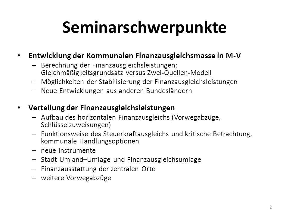 Seminarschwerpunkte Entwicklung der Kommunalen Finanzausgleichsmasse in M-V – Berechnung der Finanzausgleichsleistungen; Gleichmäßigkeitsgrundsatz ver
