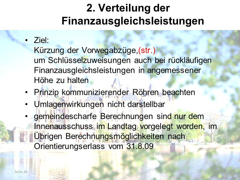 Seite 45 2. Verteilung der Finanzausgleichsleistungen Ziel: Kürzung der Vorwegabzüge,(str.) um Schlüsselzuweisungen auch bei rückläufigen Finanzausgle