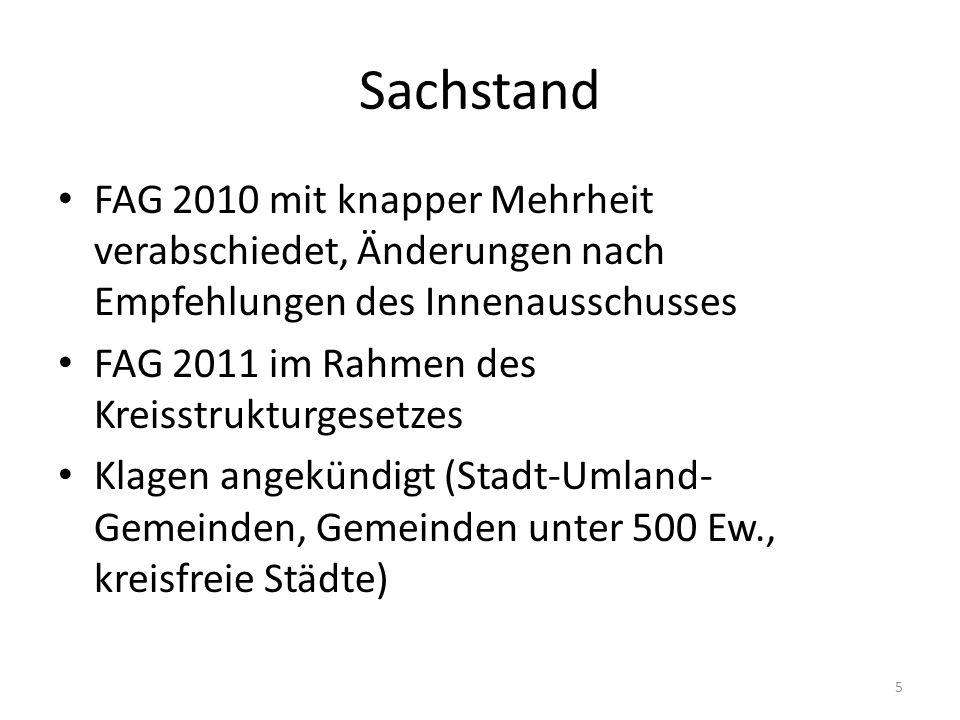 Sachstand FAG 2010 mit knapper Mehrheit verabschiedet, Änderungen nach Empfehlungen des Innenausschusses FAG 2011 im Rahmen des Kreisstrukturgesetzes
