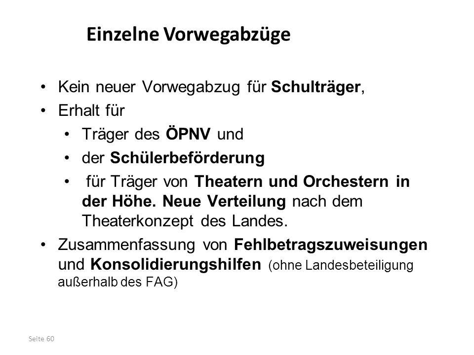 Seite 60 Kein neuer Vorwegabzug für Schulträger, Erhalt für Träger des ÖPNV und der Schülerbeförderung für Träger von Theatern und Orchestern in der H