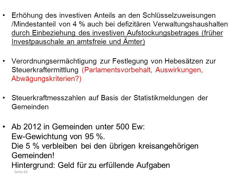 Seite 64 Erhöhung des investiven Anteils an den Schlüsselzuweisungen /Mindestanteil von 4 % auch bei defizitären Verwaltungshaushalten durch Einbezieh