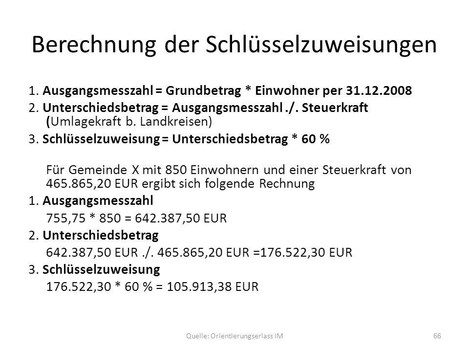Berechnung der Schlüsselzuweisungen 1. Ausgangsmesszahl = Grundbetrag * Einwohner per 31.12.2008 2. Unterschiedsbetrag = Ausgangsmesszahl./. Steuerkra