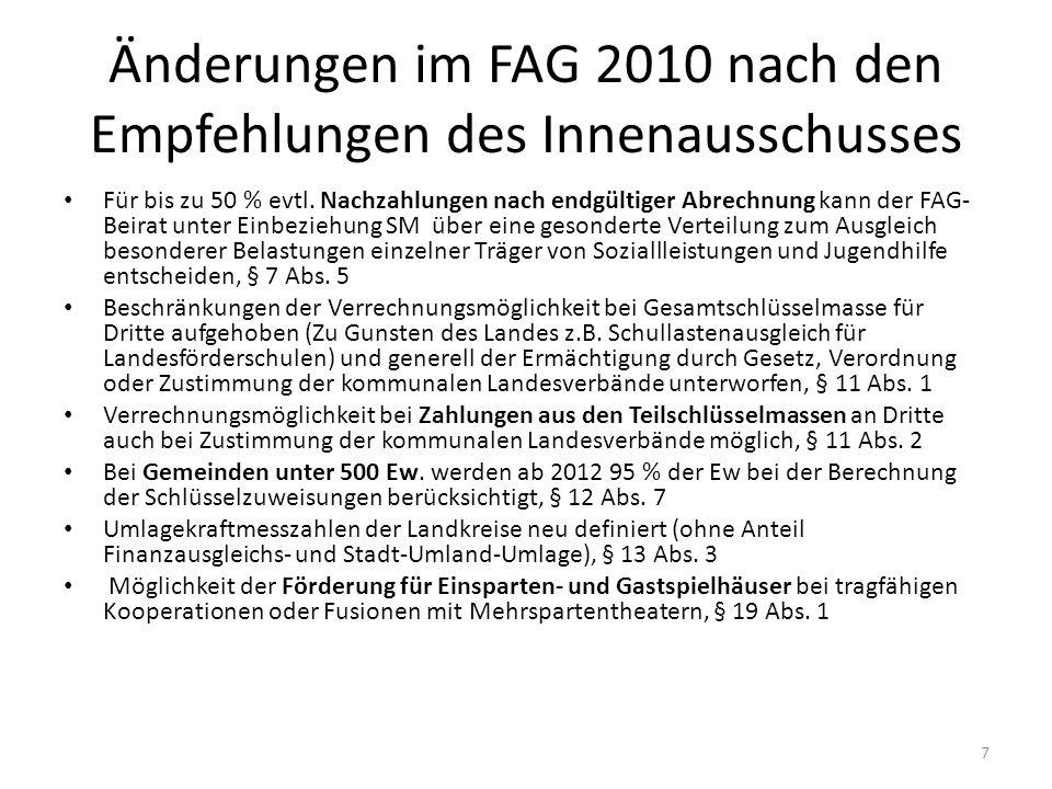 Änderungen im FAG 2010 nach den Empfehlungen des Innenausschusses Für bis zu 50 % evtl. Nachzahlungen nach endgültiger Abrechnung kann der FAG- Beirat