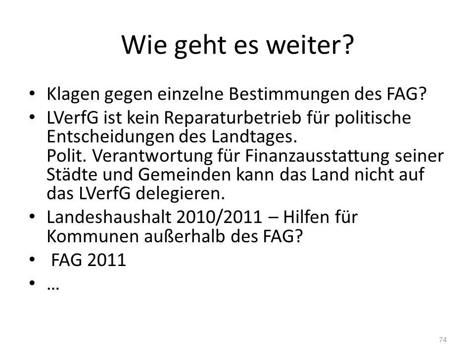 Wie geht es weiter? Klagen gegen einzelne Bestimmungen des FAG? LVerfG ist kein Reparaturbetrieb für politische Entscheidungen des Landtages. Polit. V