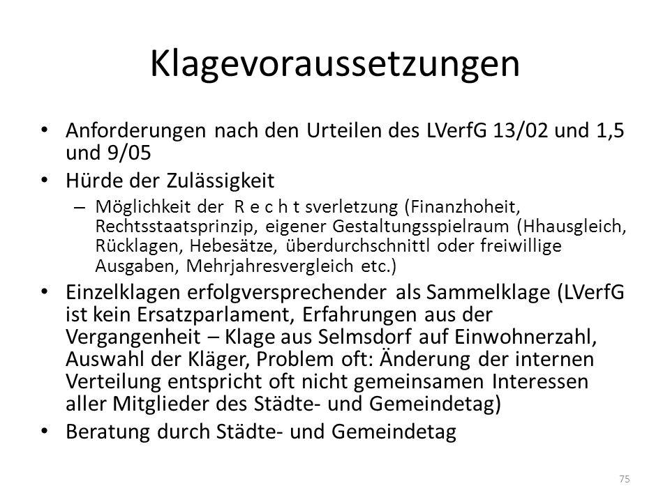 Klagevoraussetzungen Anforderungen nach den Urteilen des LVerfG 13/02 und 1,5 und 9/05 Hürde der Zulässigkeit – Möglichkeit der R e c h t sverletzung