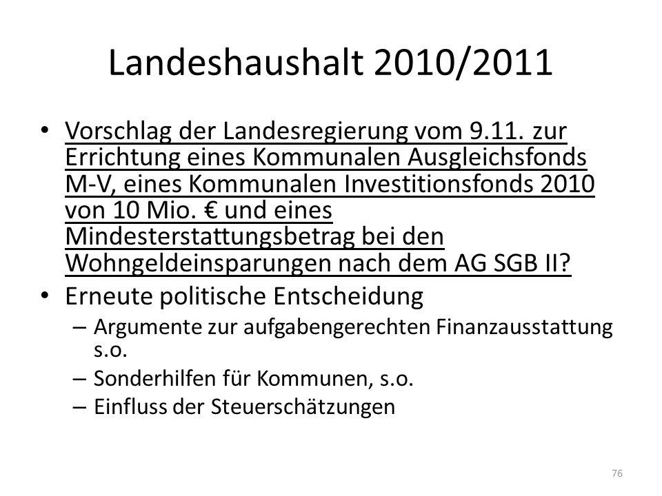 Landeshaushalt 2010/2011 Vorschlag der Landesregierung vom 9.11. zur Errichtung eines Kommunalen Ausgleichsfonds M-V, eines Kommunalen Investitionsfon