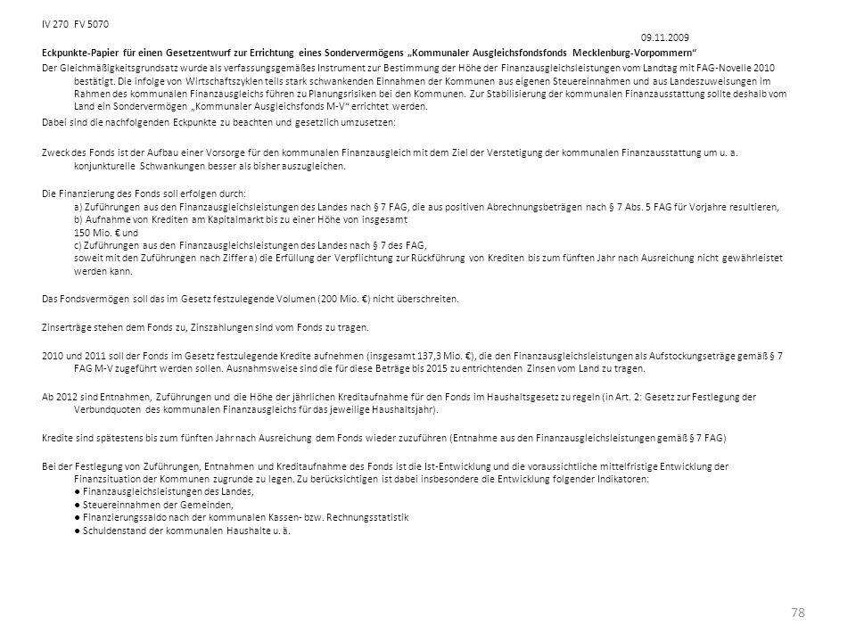 IV 270FV 5070 09.11.2009 Eckpunkte-Papier für einen Gesetzentwurf zur Errichtung eines Sondervermögens Kommunaler Ausgleichsfondsfonds Mecklenburg-Vor