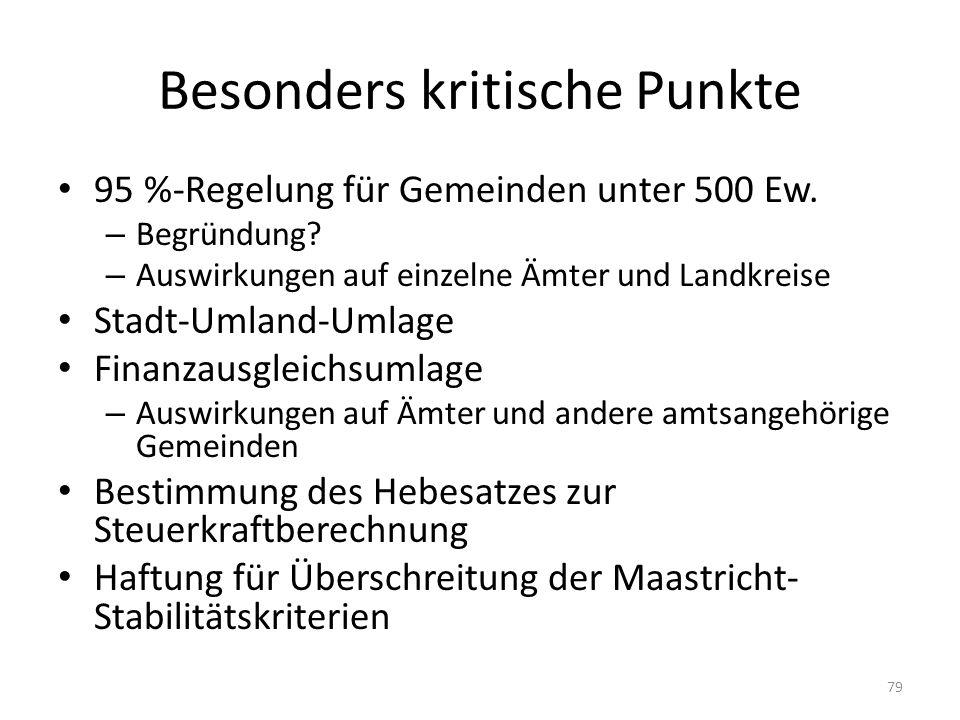 Besonders kritische Punkte 95 %-Regelung für Gemeinden unter 500 Ew. – Begründung? – Auswirkungen auf einzelne Ämter und Landkreise Stadt-Umland-Umlag