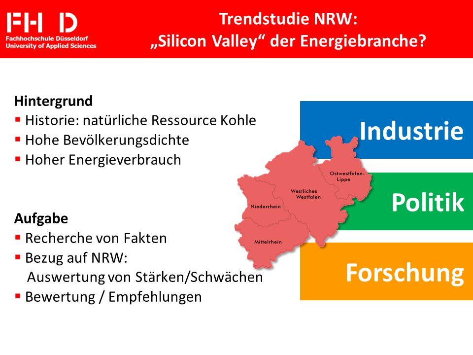FH D Fachhochschule Düsseldorf University of Applied Sciences Hintergrund Historie: natürliche Ressource Kohle Hohe Bevölkerungsdichte Hoher Energieve