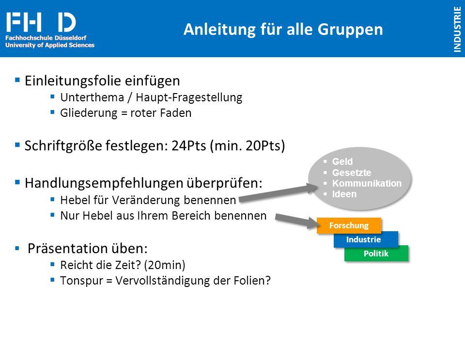 FH D Fachhochschule Düsseldorf University of Applied Sciences Anleitung für alle Gruppen Einleitungsfolie einfügen Unterthema / Haupt-Fragestellung Gl