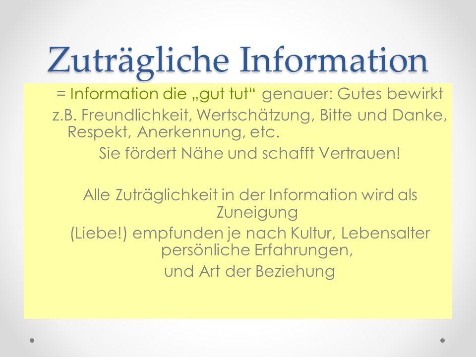 Zuträgliche Information = Information die gut tut genauer: Gutes bewirkt z.B. Freundlichkeit, Wertschätzung, Bitte und Danke, Respekt, Anerkennung, et